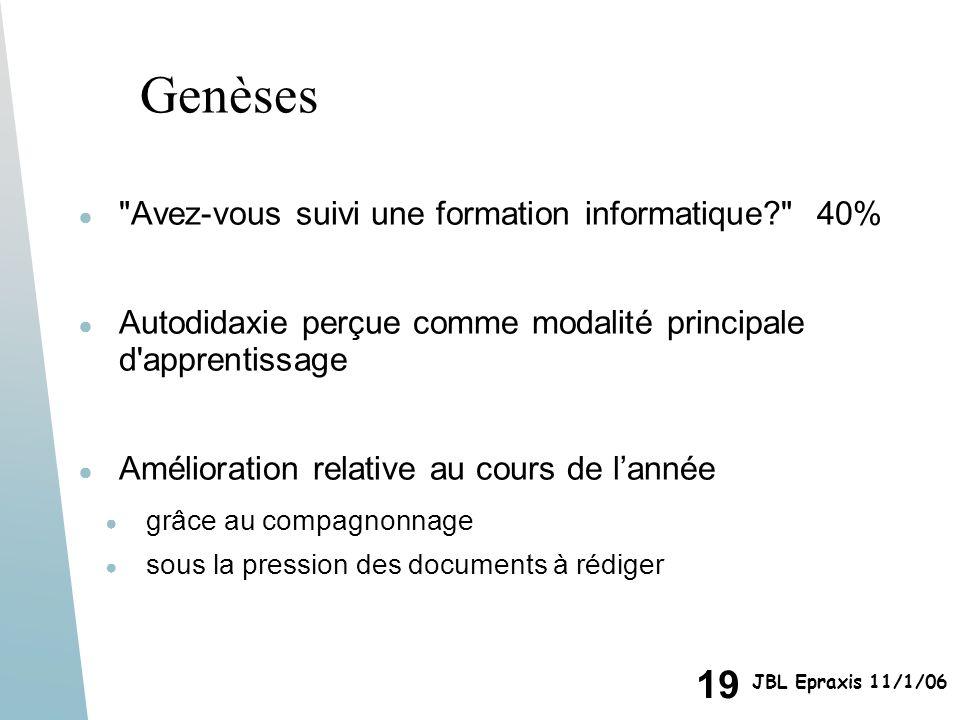 19 JBL Epraxis 11/1/06 Genèses