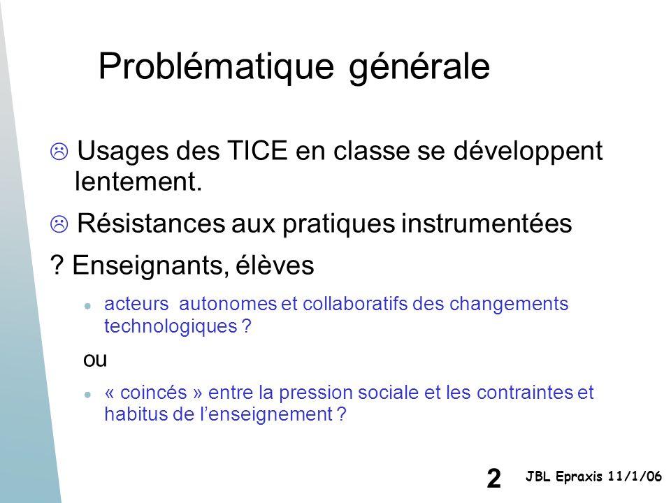 2 JBL Epraxis 11/1/06 Problématique générale Usages des TICE en classe se développent lentement. Résistances aux pratiques instrumentées ? Enseignants