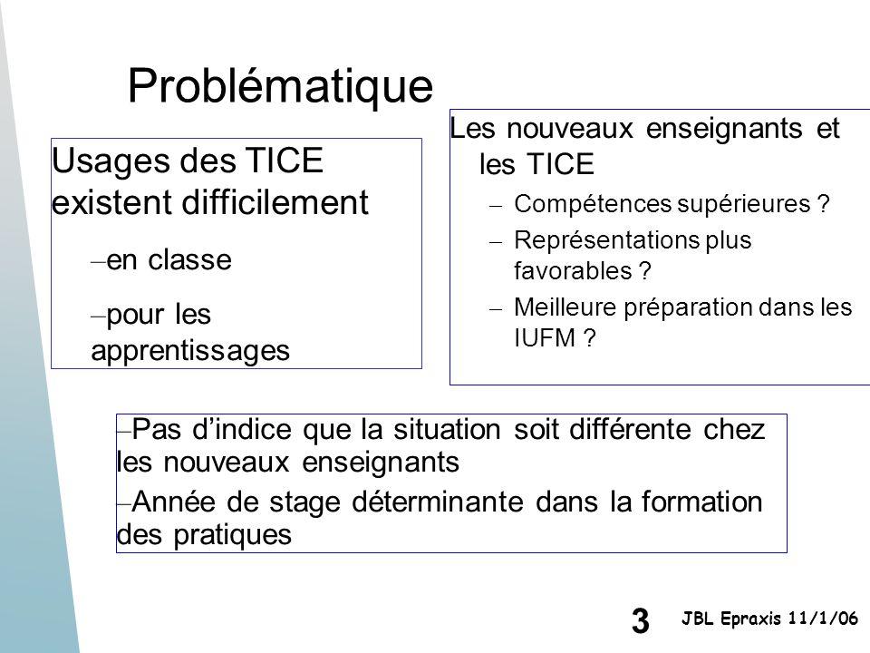 3 JBL Epraxis 11/1/06 Problématique Les nouveaux enseignants et les TICE – Compétences supérieures ? – Représentations plus favorables ? – Meilleure p