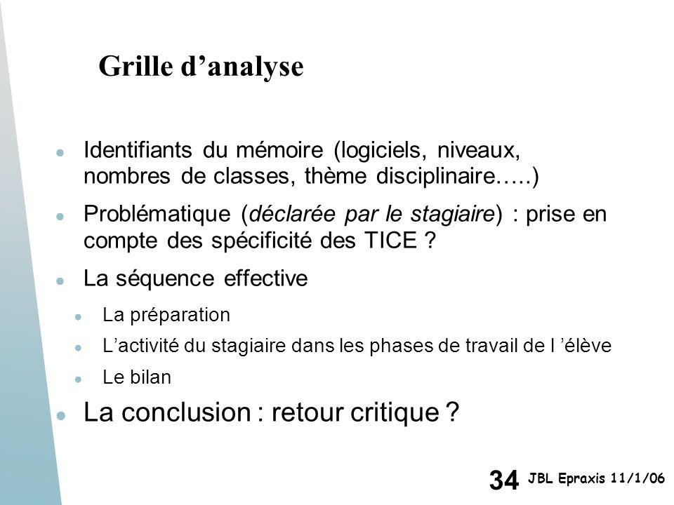 34 JBL Epraxis 11/1/06 Grille danalyse Identifiants du mémoire (logiciels, niveaux, nombres de classes, thème disciplinaire…..) Problématique (déclaré