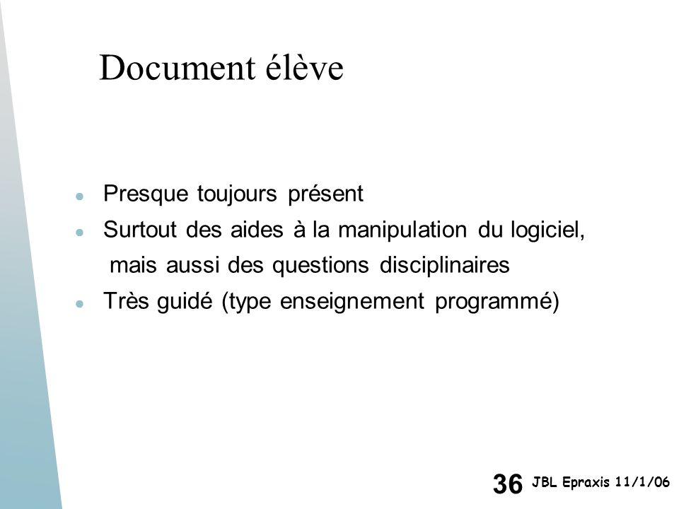 36 JBL Epraxis 11/1/06 Document élève Presque toujours présent Surtout des aides à la manipulation du logiciel, mais aussi des questions disciplinaire