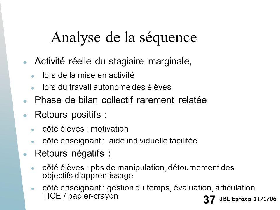 37 JBL Epraxis 11/1/06 Analyse de la séquence Activité réelle du stagiaire marginale, lors de la mise en activité lors du travail autonome des élèves