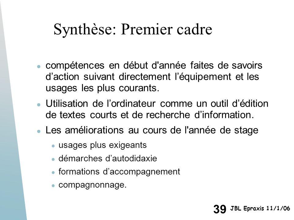 39 JBL Epraxis 11/1/06 Synthèse: Premier cadre compétences en début d'année faites de savoirs daction suivant directement léquipement et les usages le