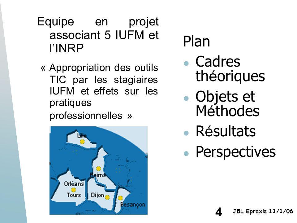 4 JBL Epraxis 11/1/06 Equipe en projet associant 5 IUFM et lINRP « Appropriation des outils TIC par les stagiaires IUFM et effets sur les pratiques pr