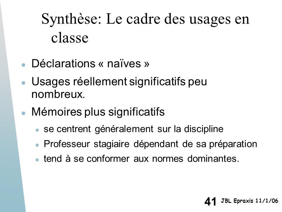 41 JBL Epraxis 11/1/06 Synthèse: Le cadre des usages en classe Déclarations « naïves » Usages réellement significatifs peu nombreux. Mémoires plus sig