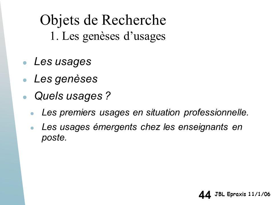 44 JBL Epraxis 11/1/06 Objets de Recherche 1. Les genèses dusages Les usages Les genèses Quels usages ? Les premiers usages en situation professionnel
