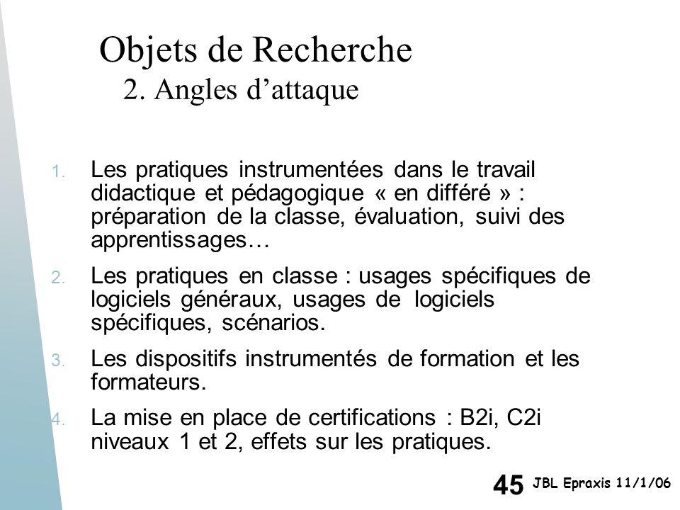 45 JBL Epraxis 11/1/06 Objets de Recherche 2. Angles dattaque 1. Les pratiques instrumentées dans le travail didactique et pédagogique « en différé »