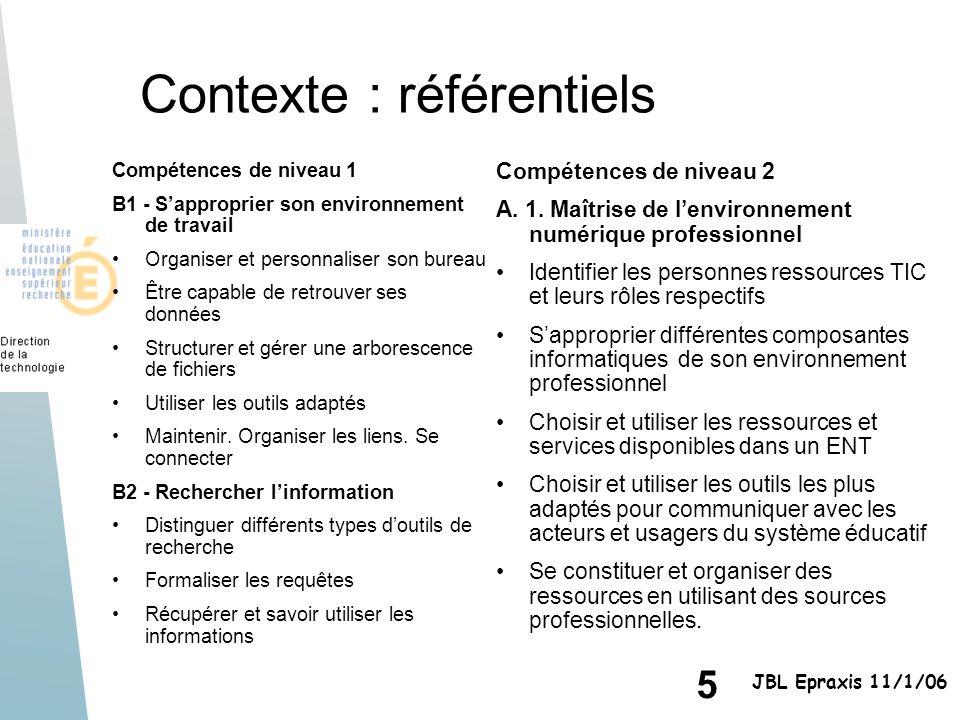 5 JBL Epraxis 11/1/06 Contexte : référentiels Compétences de niveau 2 A. 1. Maîtrise de lenvironnement numérique professionnel Identifier les personne