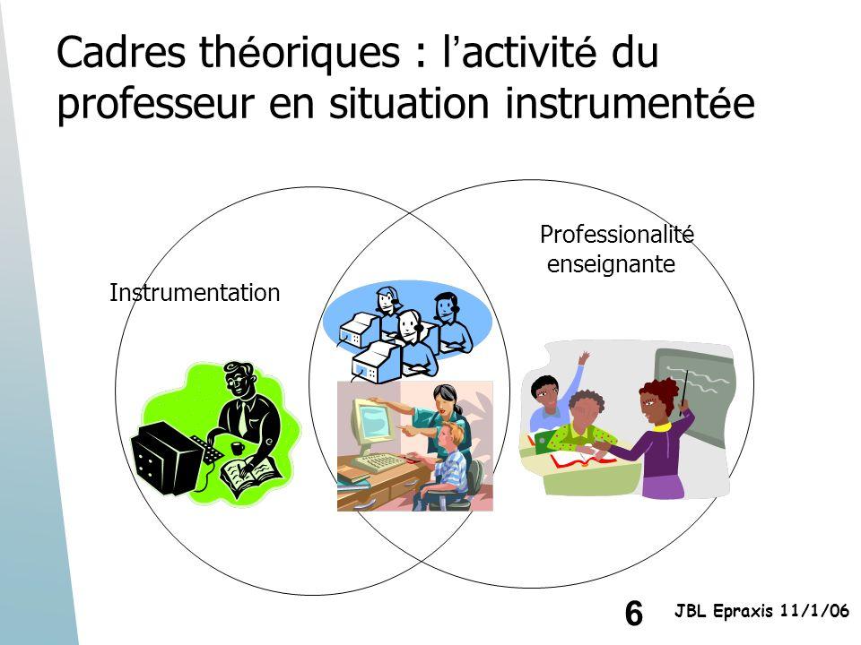 6 JBL Epraxis 11/1/06 Instrumentation Professionalit é enseignante Cadres th é oriques : l activit é du professeur en situation instrument é e