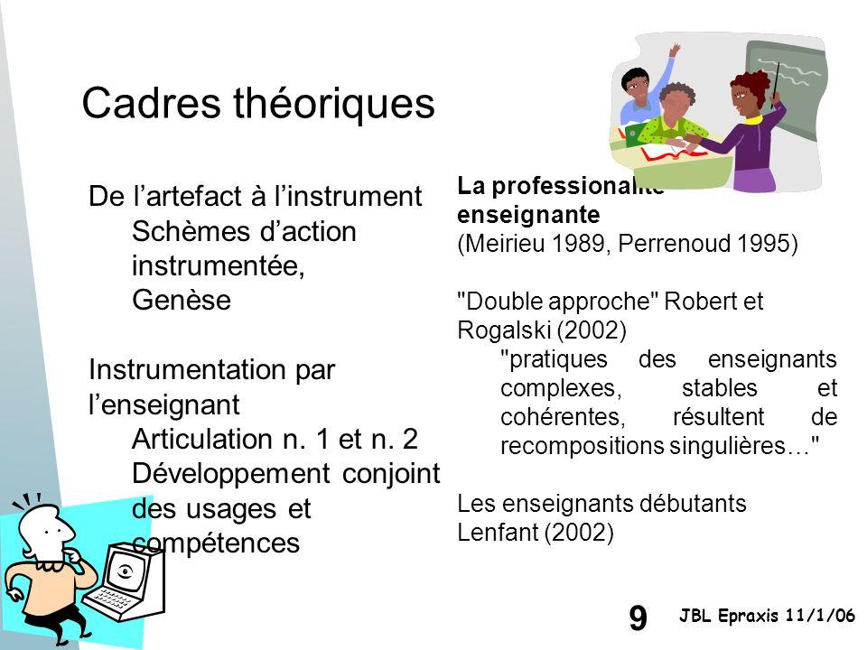 9 JBL Epraxis 11/1/06 Cadres théoriques La professionalité enseignante (Meirieu 1989, Perrenoud 1995)