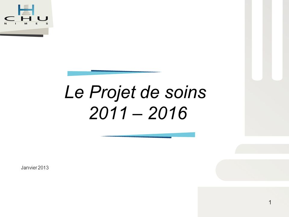 Le Projet de soins 2011 – 2016 Janvier 2013 1