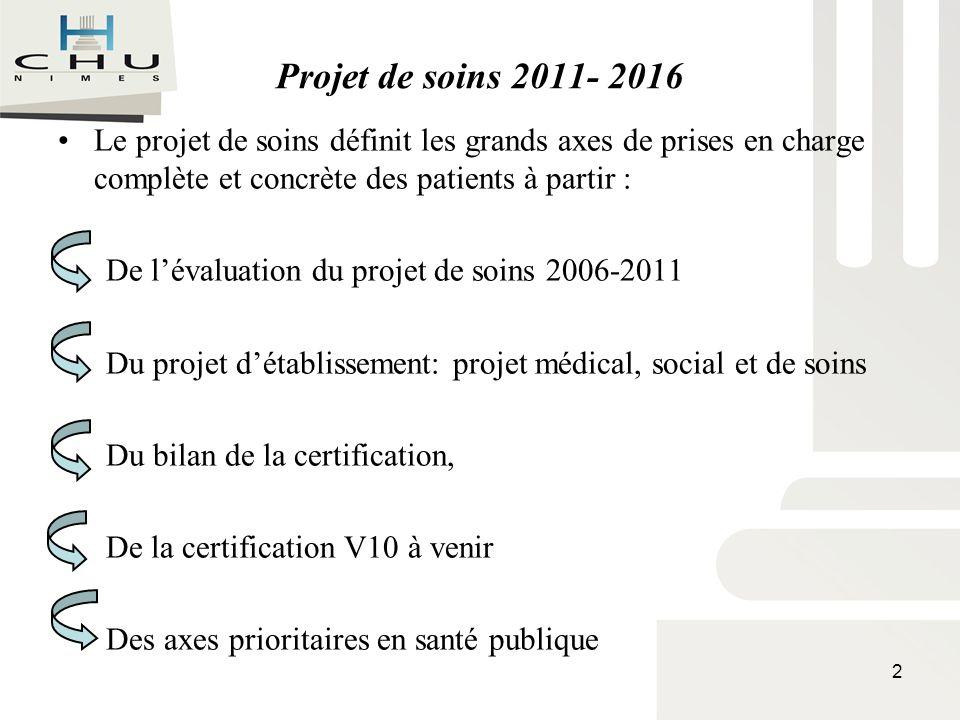 Projet de soins 2011- 2016 Le projet de soins définit les grands axes de prises en charge complète et concrète des patients à partir : De lévaluation