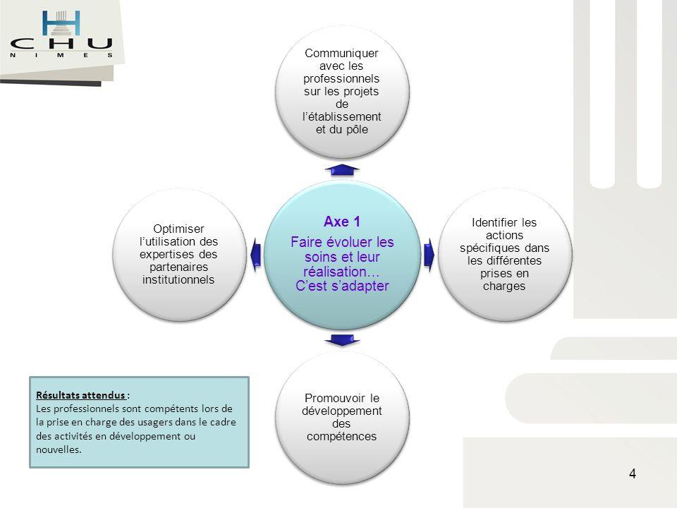 Axe 1 Faire évoluer les soins et leur réalisation… Cest sadapter Communiquer avec les professionnels sur les projets de létablissement et du pôle Iden