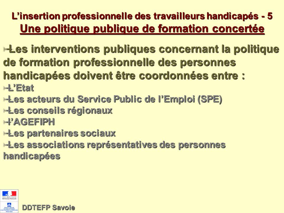 Linsertion professionnelle des travailleurs handicapés 4 La place de lAGEFIPH La loi donne une valeur juridique à la convention dobjectif signée tous