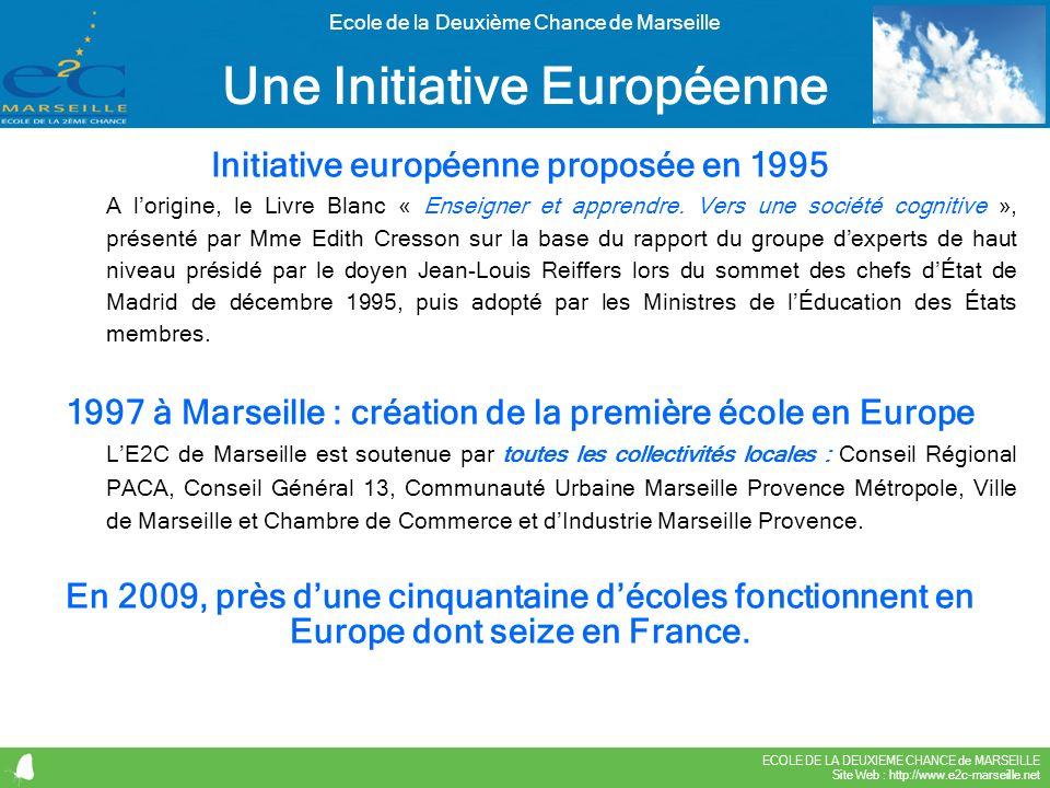 ECOLE DE LA DEUXIEME CHANCE de MARSEILLE Site Web : http://www.e2c-marseille.net Ecole de la Deuxième Chance de Marseille Initiative européenne propos