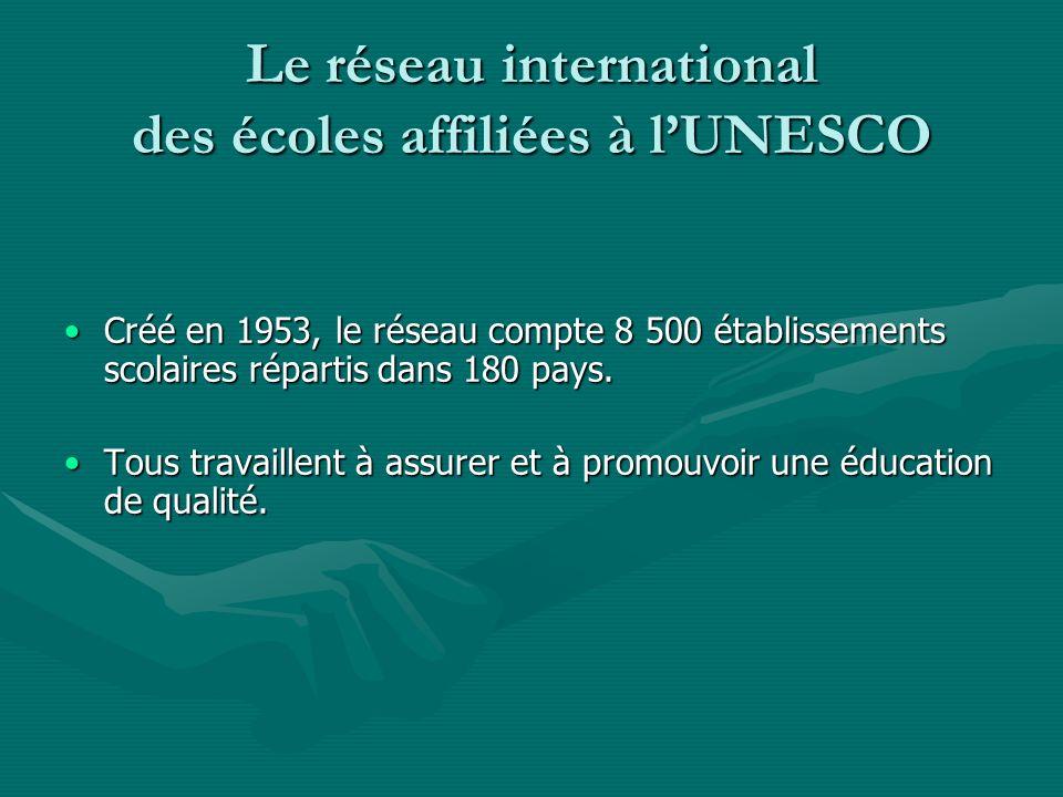 Le réseau international des écoles affiliées à lUNESCO Créé en 1953, le réseau compte 8 500 établissements scolaires répartis dans 180 pays.Créé en 19