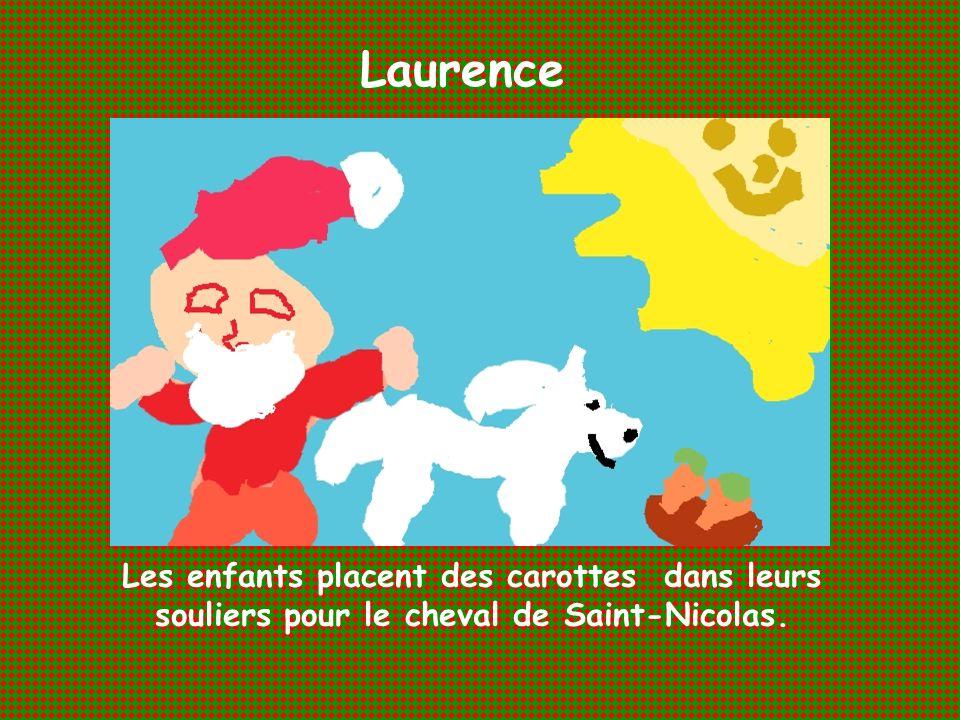 Laurence Les enfants placent des carottes dans leurs souliers pour le cheval de Saint-Nicolas.