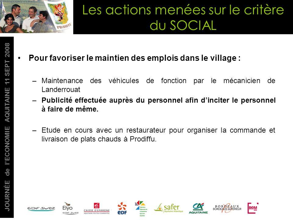 JOURNÉE de lECONOMIE AQUITAINE 11 SEPT 2008 Pour favoriser le maintien des emplois dans le village : –Maintenance des véhicules de fonction par le méc