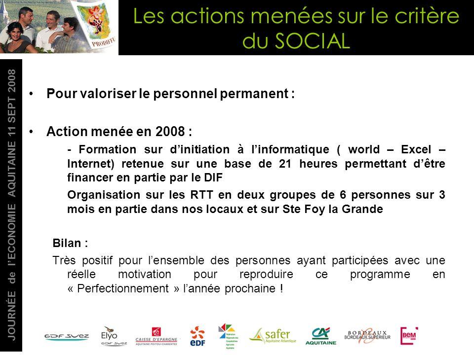 JOURNÉE de lECONOMIE AQUITAINE 11 SEPT 2008 Pour valoriser le personnel permanent : Action menée en 2008 : - Formation sur dinitiation à linformatique