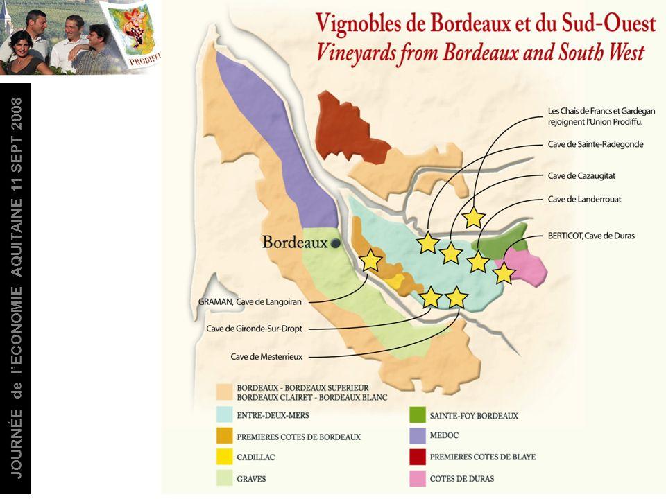 JOURNÉE de lECONOMIE AQUITAINE 11 SEPT 2008 6 caves 9 sites de production 800 viticulteurs 5500 hectares 300 000 hl CA 2007: + de 20 millions euros 11 millions de cols commercialisés en 2007 26 A.O.C 1er metteur en marché en AOC Côtes de Duras, Ste Foy Bordeaux et en VDP de lAtlantique.