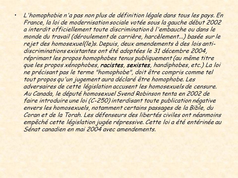 L homophobie n a pas non plus de définition légale dans tous les pays.