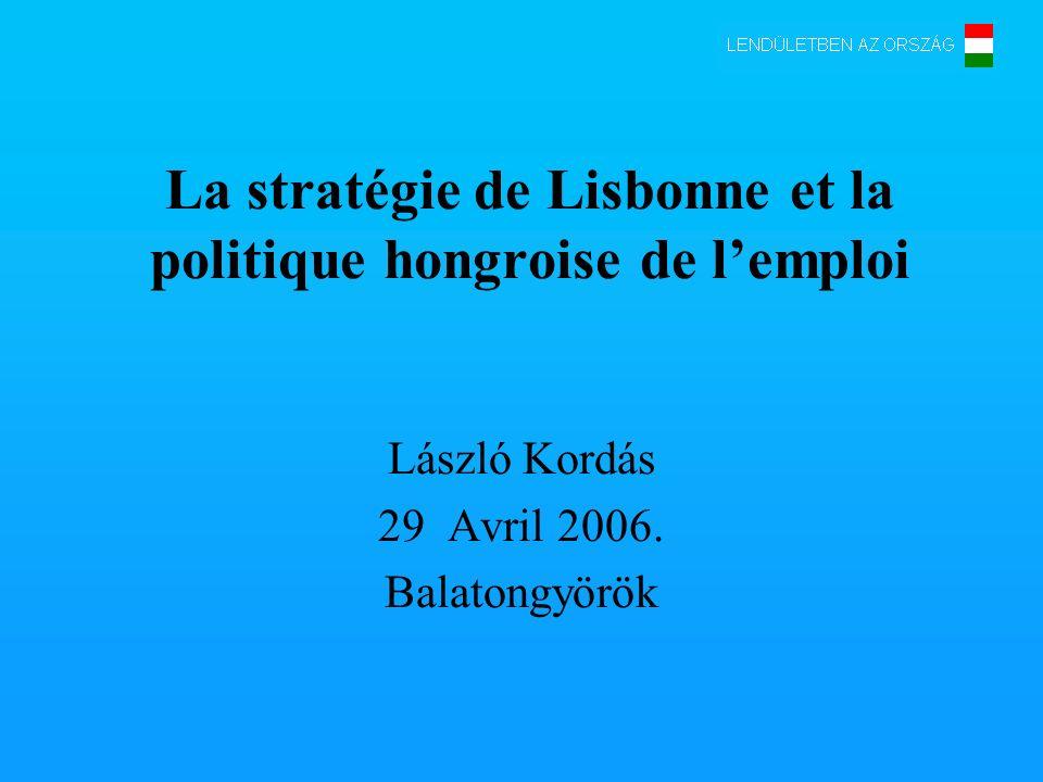 La stratégie de Lisbonne et la politique hongroise de lemploi László Kordás 29 Avril 2006.