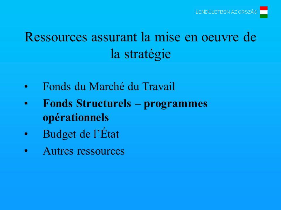 Ressources assurant la mise en oeuvre de la stratégie Fonds du Marché du Travail Fonds Structurels – programmes opérationnels Budget de lÉtat Autres ressources