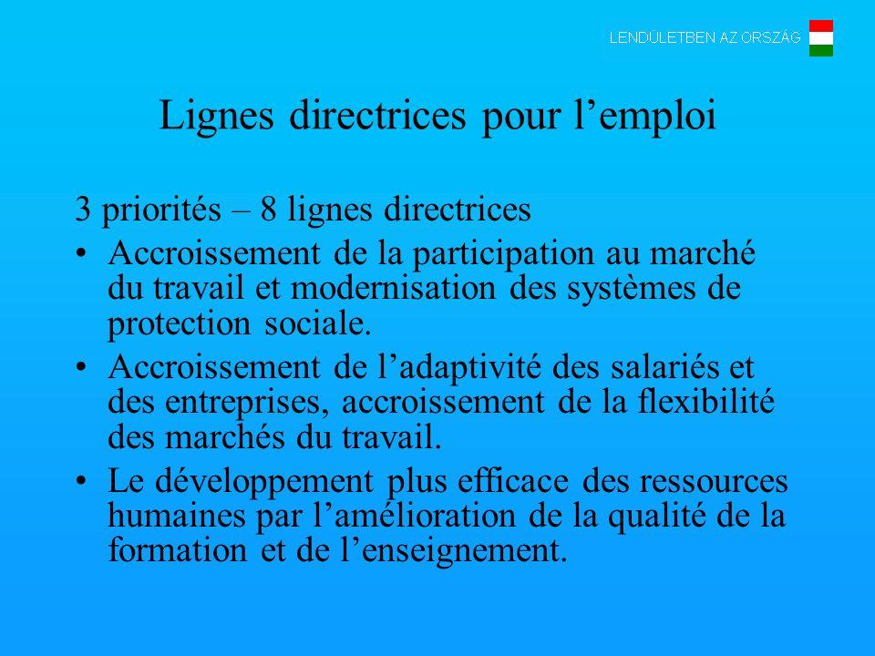 Lignes directrices pour lemploi 3 priorités – 8 lignes directrices Accroissement de la participation au marché du travail et modernisation des systèmes de protection sociale.