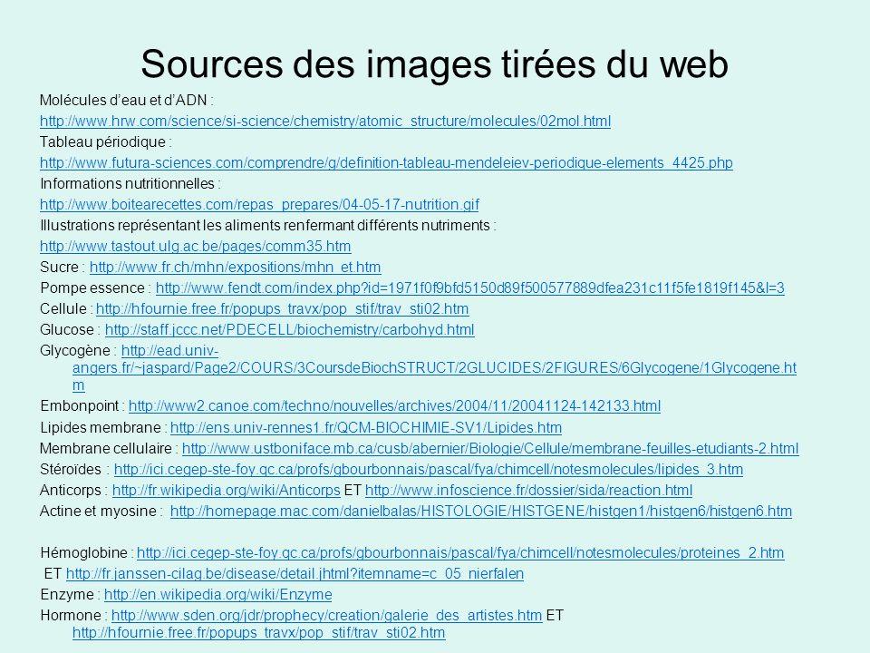 Sources des images tirées du web Molécules deau et dADN : http://www.hrw.com/science/si-science/chemistry/atomic_structure/molecules/02mol.html Tablea