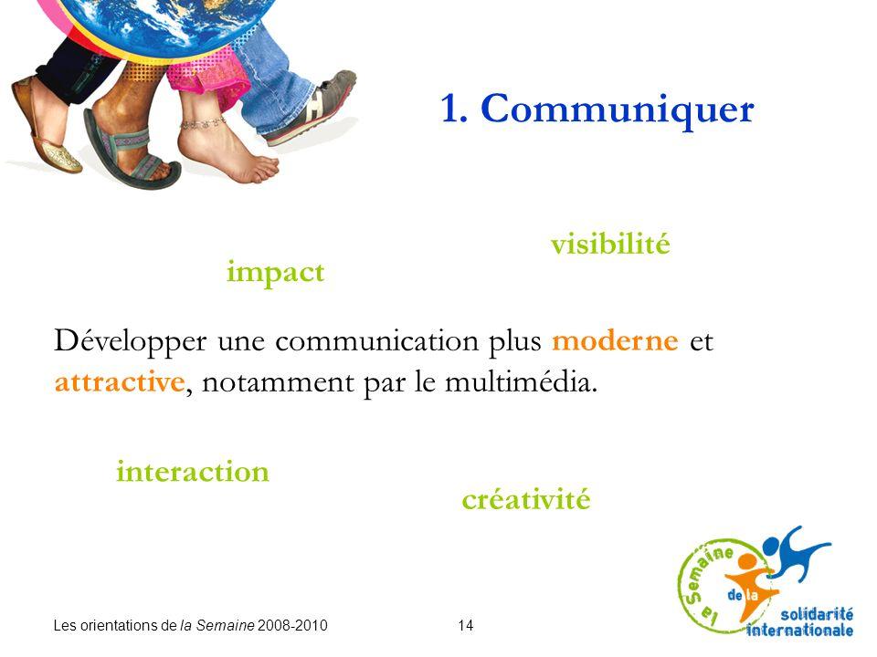 Les orientations de la Semaine 2008-2010 14 1. Communiquer Développer une communication plus moderne et attractive, notamment par le multimédia. visib