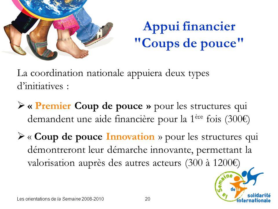 Les orientations de la Semaine 2008-2010 20 Appui financier