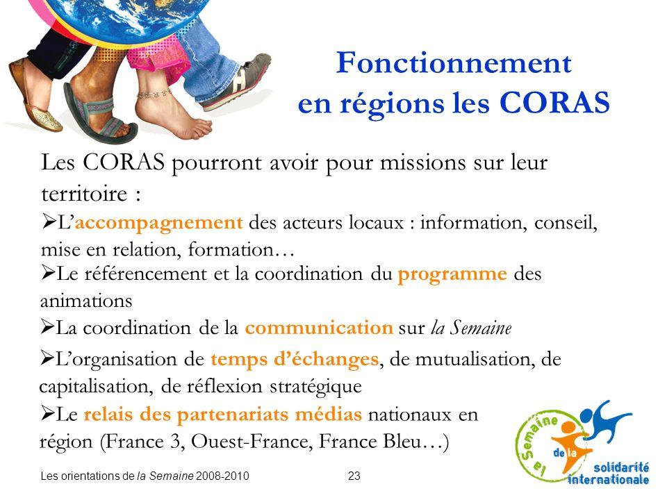Les orientations de la Semaine 2008-2010 23 Fonctionnement en régions les CORAS Les CORAS pourront avoir pour missions sur leur territoire : Laccompag