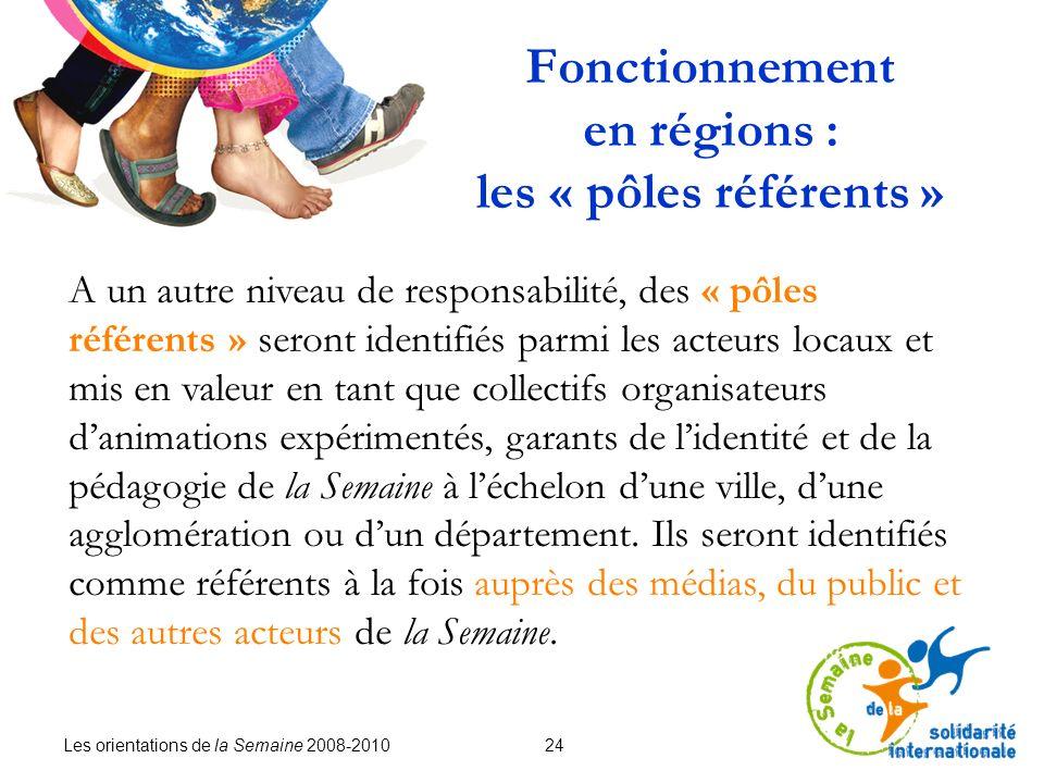 Les orientations de la Semaine 2008-2010 24 Fonctionnement en régions : les « pôles référents » A un autre niveau de responsabilité, des « pôles référ