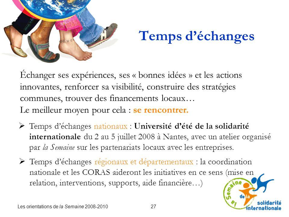 Les orientations de la Semaine 2008-2010 27 Temps déchanges Temps déchanges nationaux : Université dété de la solidarité internationale du 2 au 5 juillet 2008 à Nantes, avec un atelier organisé par la Semaine sur les partenariats locaux avec les entreprises.