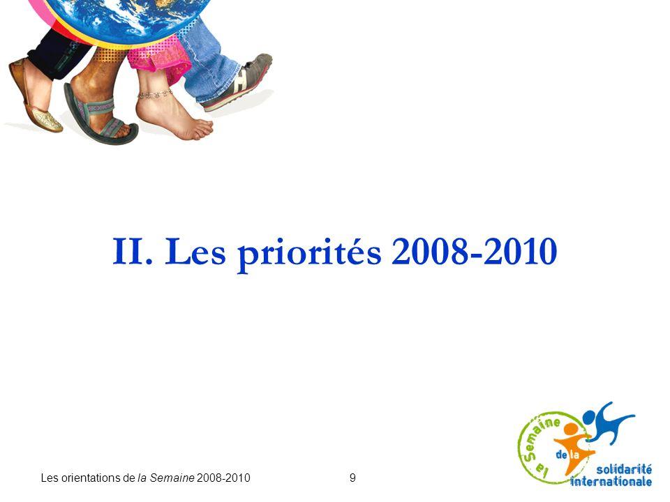 Les orientations de la Semaine 2008-2010 10 La Semaine est un événement de sensibilisation, le premier pas vers léducation au développement et à la solidarité internationale.