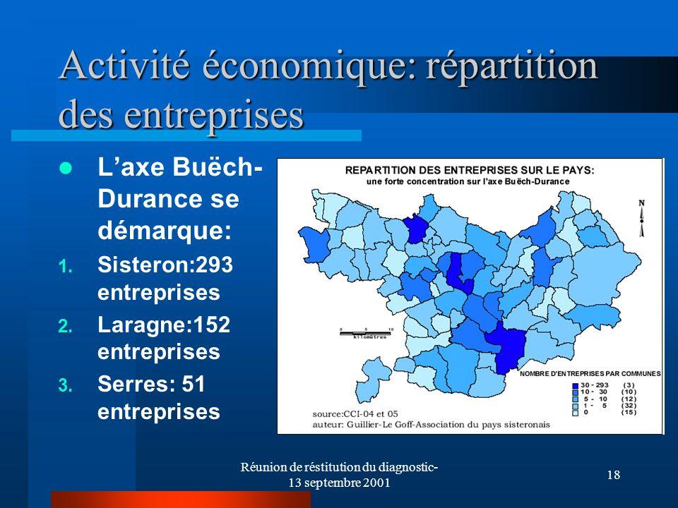 Réunion de réstitution du diagnostic- 13 septembre 2001 18 Activité économique: répartition des entreprises Laxe Buëch- Durance se démarque: 1. Sister