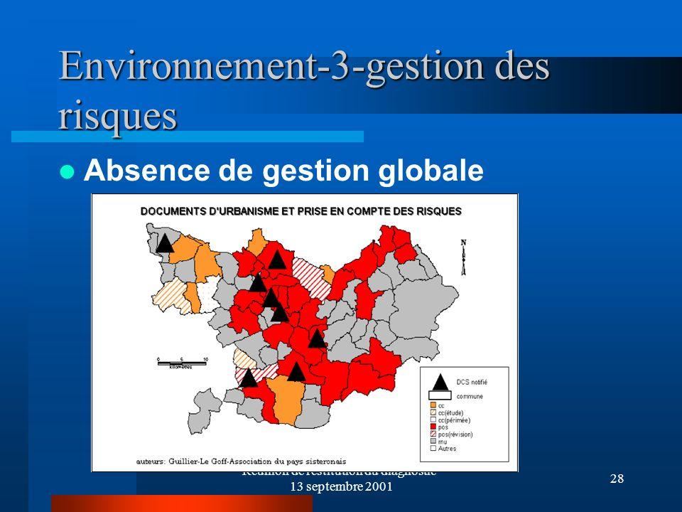 Réunion de réstitution du diagnostic- 13 septembre 2001 28 Environnement-3-gestion des risques Absence de gestion globale