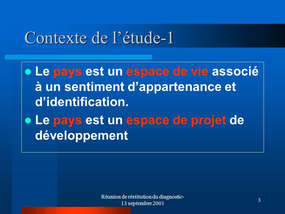 Réunion de réstitution du diagnostic- 13 septembre 2001 3 Contexte de létude-1 Le pays est un espace de vie associé à un sentiment dappartenance et didentification.