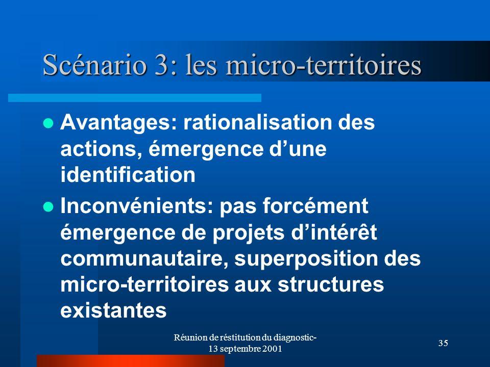 Réunion de réstitution du diagnostic- 13 septembre 2001 35 Scénario 3: les micro-territoires Avantages: rationalisation des actions, émergence dune id