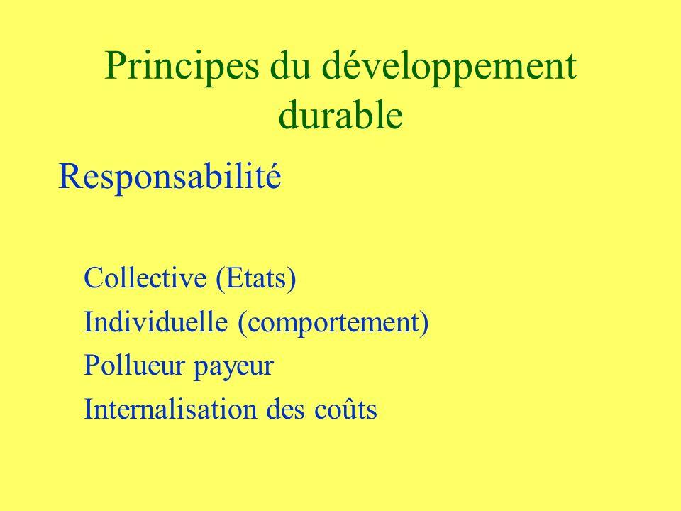 Principes du développement durable Responsabilité Collective (Etats) Individuelle (comportement) Pollueur payeur Internalisation des coûts