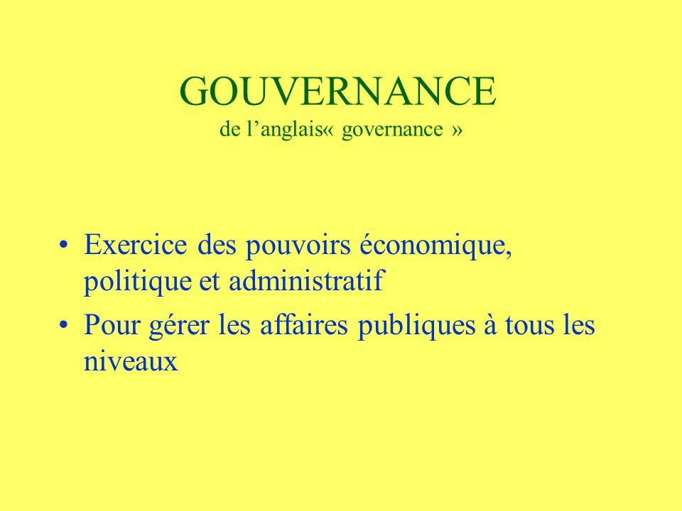 GOUVERNANCE de langlais« governance » Exercice des pouvoirs économique, politique et administratif Pour gérer les affaires publiques à tous les niveaux