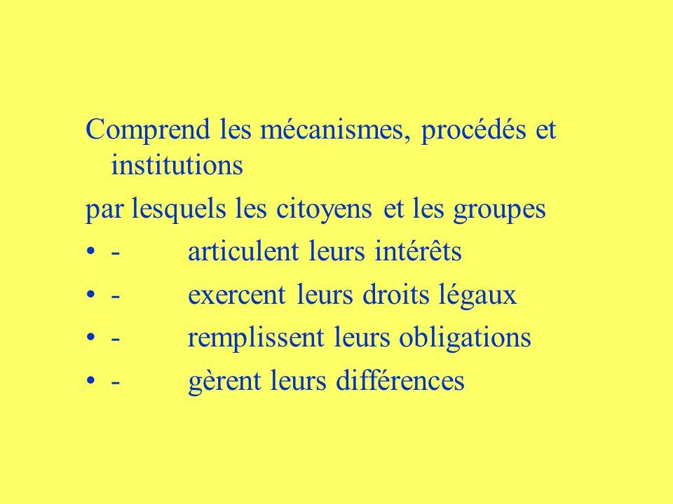 Comprend les mécanismes, procédés et institutions par lesquels les citoyens et les groupes - articulent leurs intérêts - exercent leurs droits légaux - remplissent leurs obligations - gèrent leurs différences