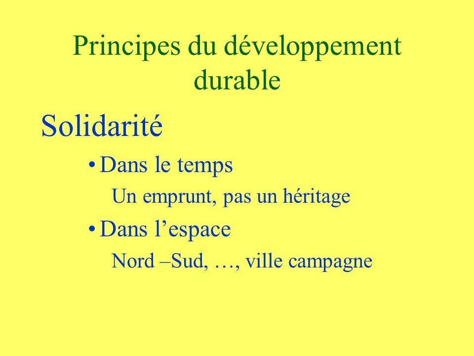 Principes du développement durable Solidarité Dans le temps Un emprunt, pas un héritage Dans lespace Nord –Sud, …, ville campagne