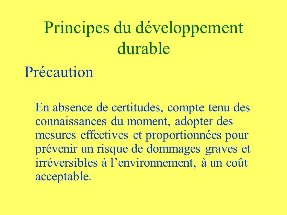 Principes du développement durable Précaution En absence de certitudes, compte tenu des connaissances du moment, adopter des mesures effectives et proportionnées pour prévenir un risque de dommages graves et irréversibles à lenvironnement, à un coût acceptable.