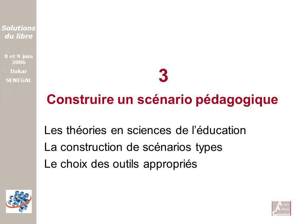 Solutions du libre 8 et 9 juin 2006 Dakar SENEGAL Construire un scénario pédagogique Les théories en sciences de léducation La construction de scénari