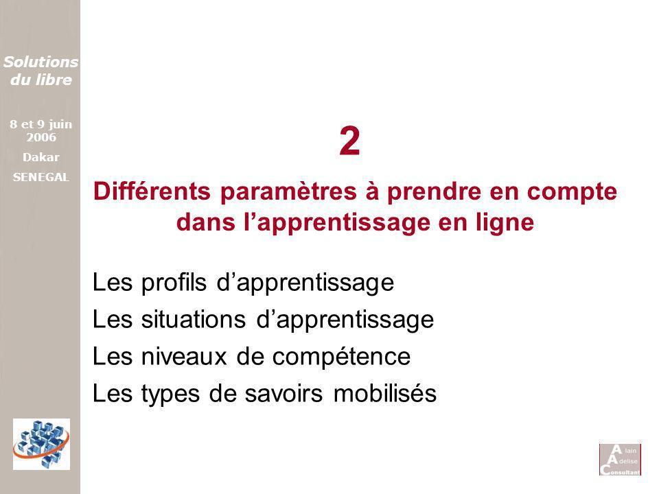 Solutions du libre 8 et 9 juin 2006 Dakar SENEGAL Différents paramètres à prendre en compte dans lapprentissage en ligne Les profils dapprentissage Le