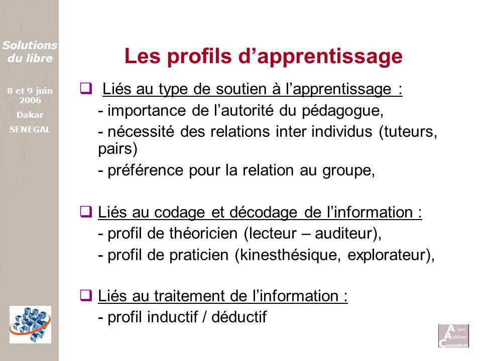 Solutions du libre 8 et 9 juin 2006 Dakar SENEGAL Les profils dapprentissage Liés au type de soutien à lapprentissage : - importance de lautorité du p