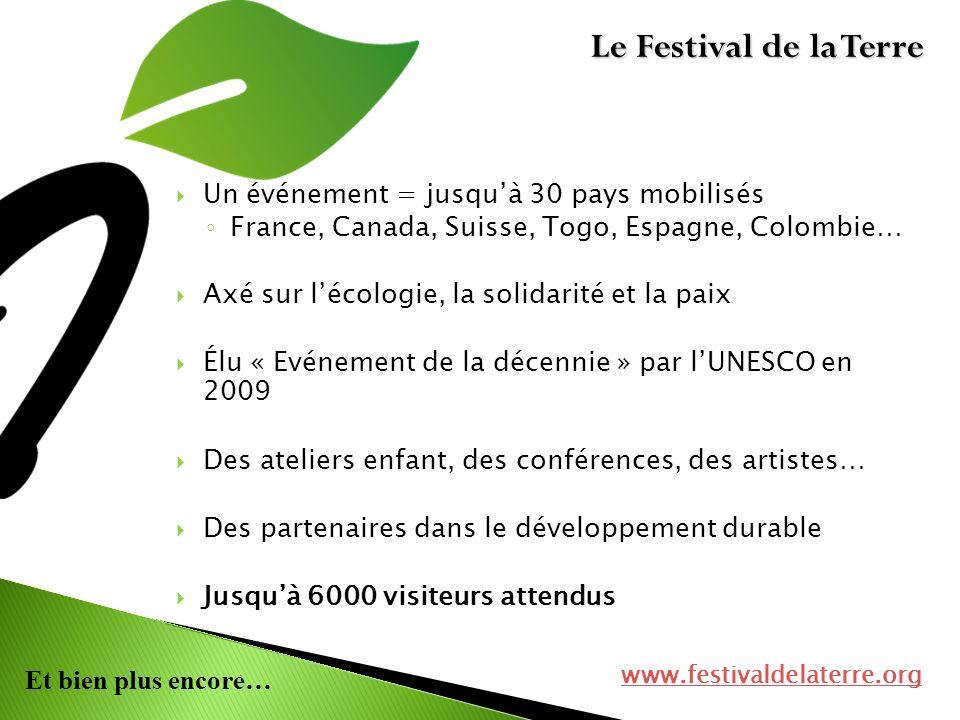 Et bien plus encore… Un événement = jusquà 30 pays mobilisés France, Canada, Suisse, Togo, Espagne, Colombie… Axé sur lécologie, la solidarité et la p