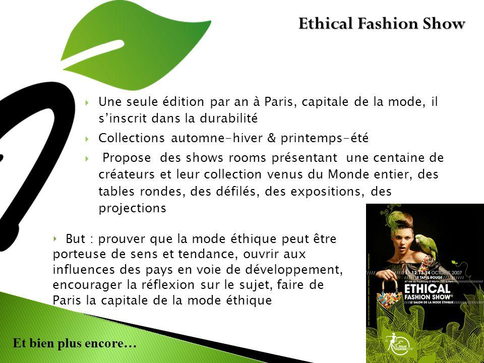 Et bien plus encore… Une seule édition par an à Paris, capitale de la mode, il sinscrit dans la durabilité Collections automne-hiver & printemps-été P