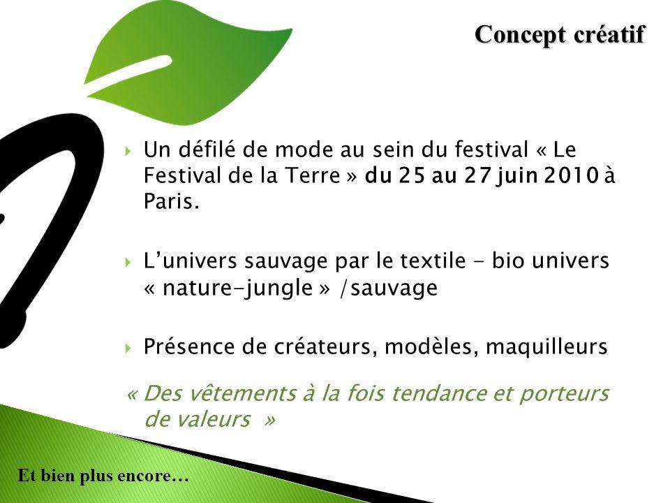 Et bien plus encore… Un défilé de mode au sein du festival « Le Festival de la Terre » du 25 au 27 juin 2010 à Paris. Lunivers sauvage par le textile